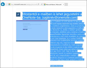Kép egy weblapról, amelynek egy része ki van jelölve másolásra