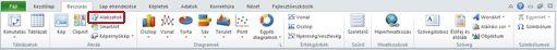 A Beszúrás lap Alakzatok gombja kiemelve az Excel 2010 alkalmazásban