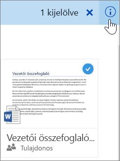 Képernyőkép: egy elem kiválasztása és az információ ikon