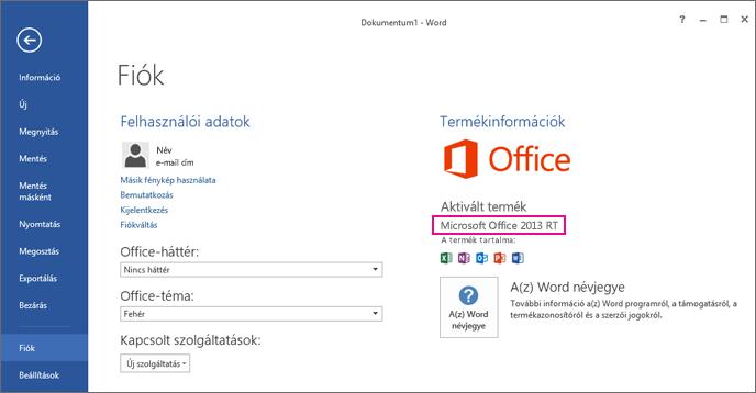 A Word RT a Fájl > Fiók ablakkal