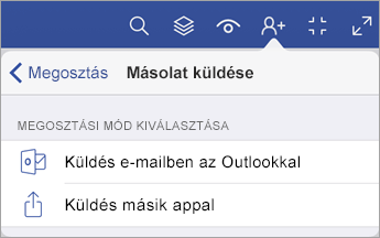 Másolat küldése menü, amely a fájlmegosztás két módját kínálja: az Outlookban e-mailként vagy egy másik appal.