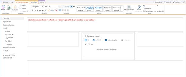 Egy csak egy dokumentumtárat tartalmazó csoportwebhelylap.