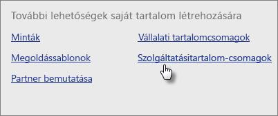A Content Pack Library (Tartalomcsomagtár), Services (Szolgáltatások) terület Get (Beszerzés) elemének kiválasztása.