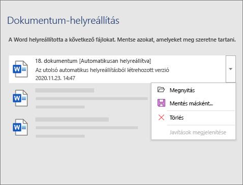 Automatikusan helyreállított fájlokat rögzített a rendszer a Dokumentum-helyreállítás ablaktáblán