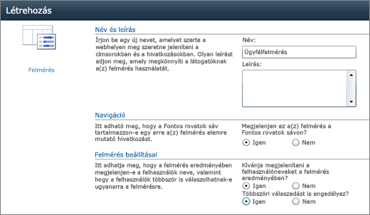 A SharePoint 2010 Felmérés beállításai lapja