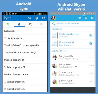 Képernyőkép a Lync és a Skype Vállalati verzió alkalmazásról egymás mellett