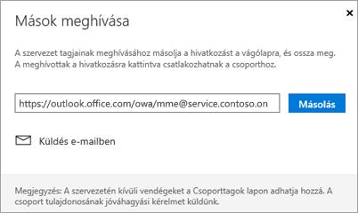 Kattintson a Másolás vagy e-mailek beágyazása a csatlakozás hivatkozást egy e-mailben
