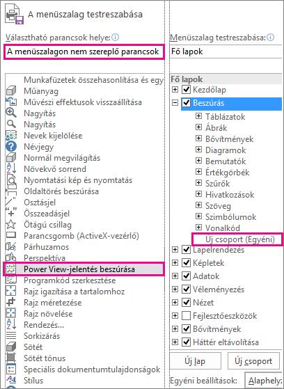 Az Excel menüszalagjának testreszabása