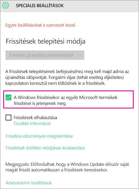 Windows Update Speciális beállítások