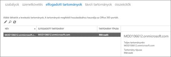 Képernyőkép az Exchange Felügyeleti központ Elfogadható tartományok lapjáról A névvel, az elfogadható tartománnyal és a tartomány típusával kapcsolatos információk