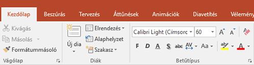 A szövegkiemelő megjelenítése a menüszalagon a PowerPointban.