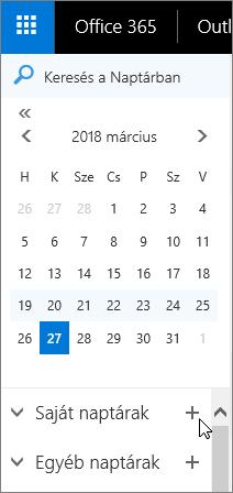 Képernyőkép a naptár navigációs ablak saját naptárak és az egyéb naptárak részeinek jeleníti meg.