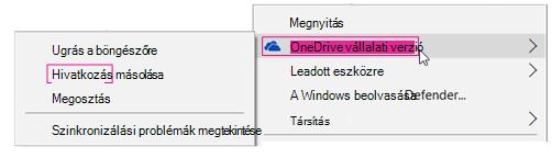 OneDrive vállalati verzió, hivatkozás másolása
