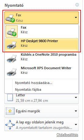 Under Printer , select a printer.
