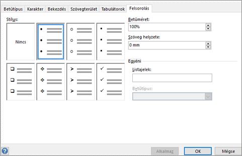 A Felsorolás lap, a Visio különféle felsorolási stílusai láthatók rajta.