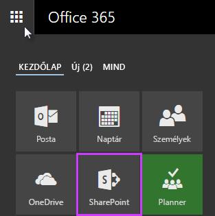 Képernyőkép a SharePoint Server 2016 appindítójáról