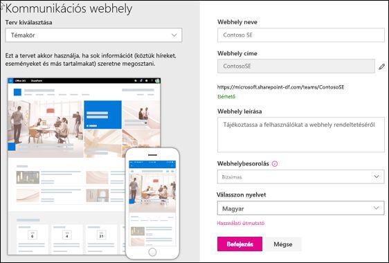 SharePoint kommunikációs webhely létrehozása