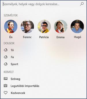 Képernyőkép a keresőmezőről a Fényképek alkalmazásban.