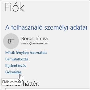 Képernyőkép a fiókváltásról a Fiók adatai lapján