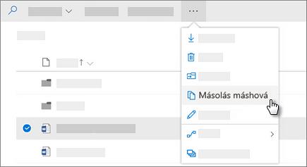 Képernyőkép a OneDrive Vállalati verzió Másolás parancsáról