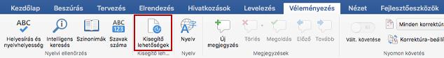 A Véleményezés menüszalag képernyőképe a Kisegítő lehetőségek ikonnal