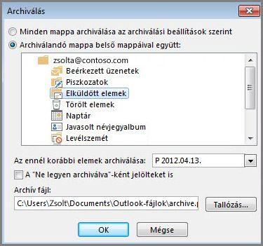 Archiválás párbeszédpanel