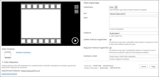 A videó tulajdonságainak lapja