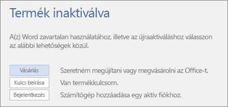 """Képernyőkép a """"Termék inaktiválva"""" hibaüzenetről"""