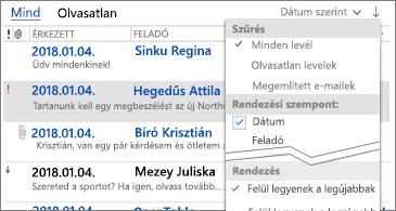 Az üzenetek rendezésére szolgáló szűrők listája