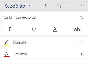 Képernyőkép a Word Mobile szövegformázási menüjéről.
