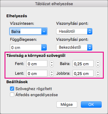 A kijelölt tábla és a szöveg közötti térköz beállítása a távolságot a környező szöveg.
