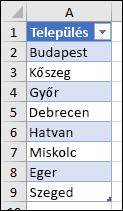 Az adatérvényesítési lista forrásaként használt Excel-táblázat