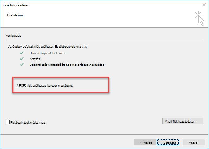 Fiók felvétele az Outlookba POP-fiókként