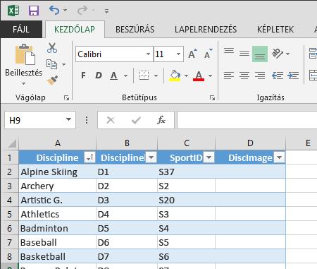 Tábla bővítése az Excelben