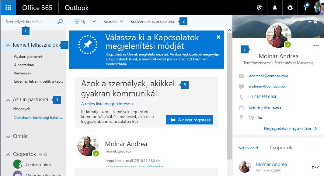 Képernyőkép a Kapcsolatok lapról.