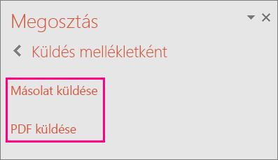 PDF küldése hivatkozás a PowerPoint 2016-ban