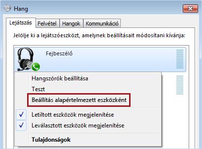 Eszköz beállítása alapértelmezettként a Windowsban