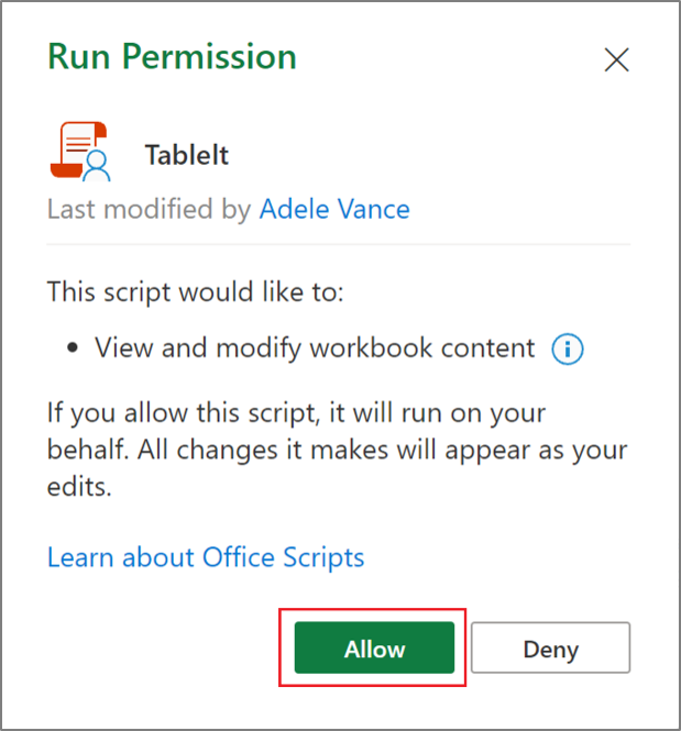 Futtatási engedély párbeszédpanel egy Office-szkripthez Excelben