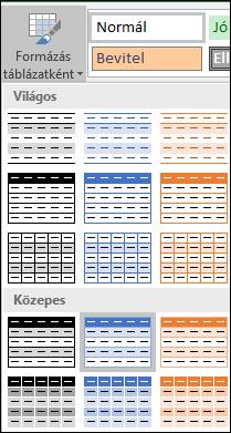 A Formázás táblázatként stílusgyűjteménye