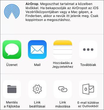Az iOS OneDrive app Fénykép mentése gombjának képe