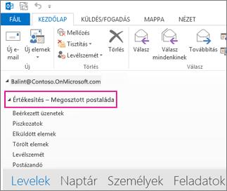 Az Outlook mappalistájában megjelenő megosztott postaláda