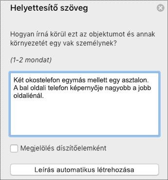 Helyettesítő szöveg a Mac PowerPointban