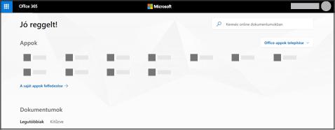 Az Office 365 kezdőlapja
