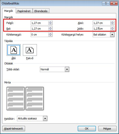 Type the margin sizes in the Top, Bottom, Left, and Right boxes.