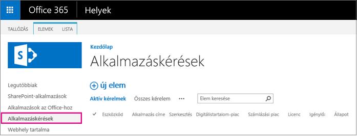 Képernyőkép az Alkalmazás kérése hivatkozásról