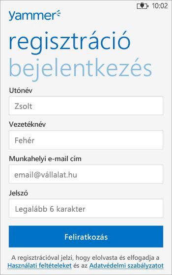 A Yammer Regisztráció lehetősége