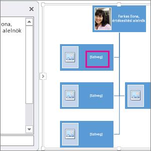 SmartArt képes szervezeti diagram rajta kiemelés jelzi, hogy hová lehet szöveget írni