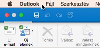 Az Outlook-verzió megállapításához válassza a menüsoron az Outlook elemet.