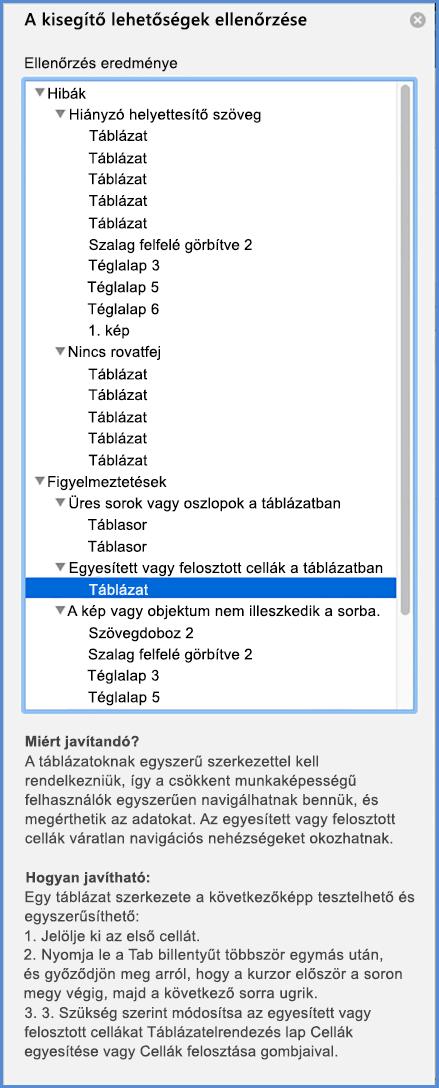Az Akadálymentesség-ellenőrző menü képernyőképe