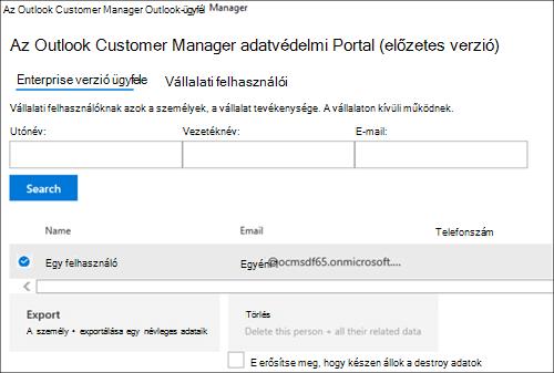 Képernyőkép: az Outlook Customer Manager-ügyfél adatainak exportálása